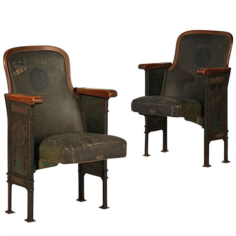 Cast Iron and Upholstered Theater Chairs | From a unique collection of antique and modern chairs at http://www.1stdibs.com/furniture/seating/chairs/