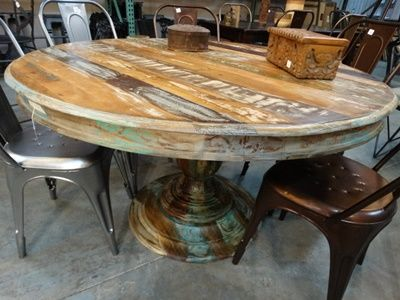 Colorful Reclaimed Wood Round Dining Table With Pedestal Base