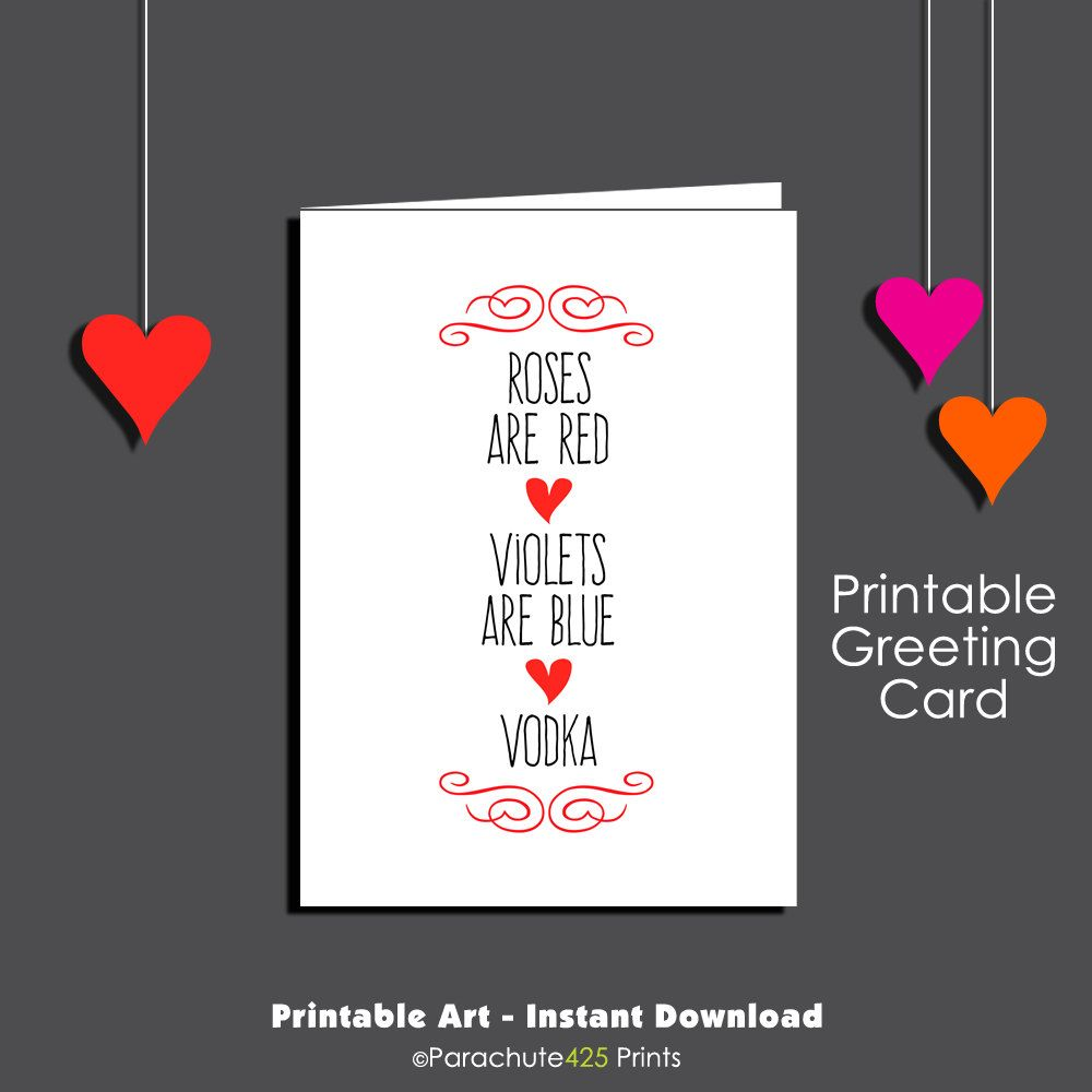 printable card anniversary card i love you card roses are red vodka card funny friend card funny birthday sweetest day valentine - Adult Valentine Cards
