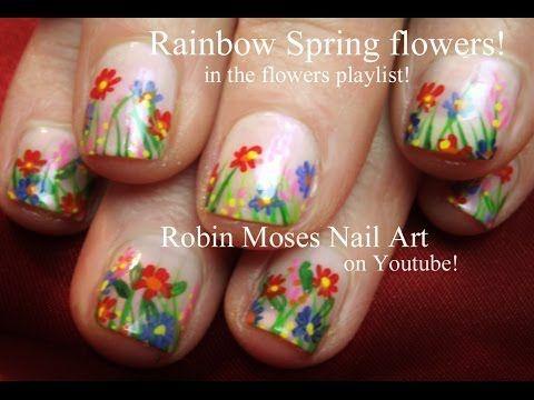 Flower Nail Art For Short Nails Youtube Nails Pinterest