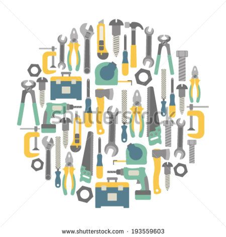 round design element with tools icons - stock vector