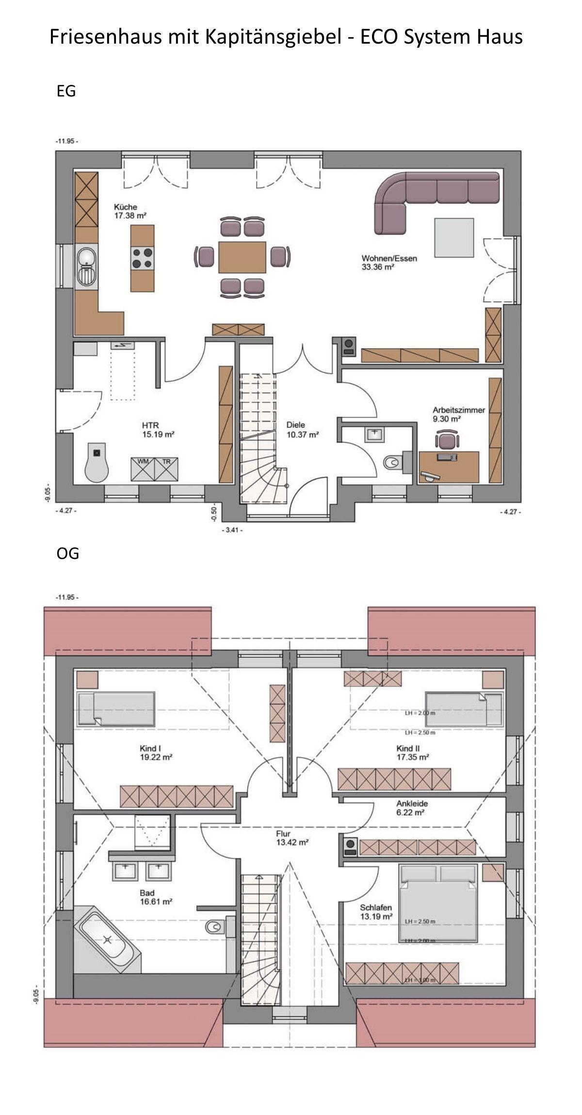 Grundriss Einfamilienhaus Landhaus 5 Zimmer, 173 qm Wfl