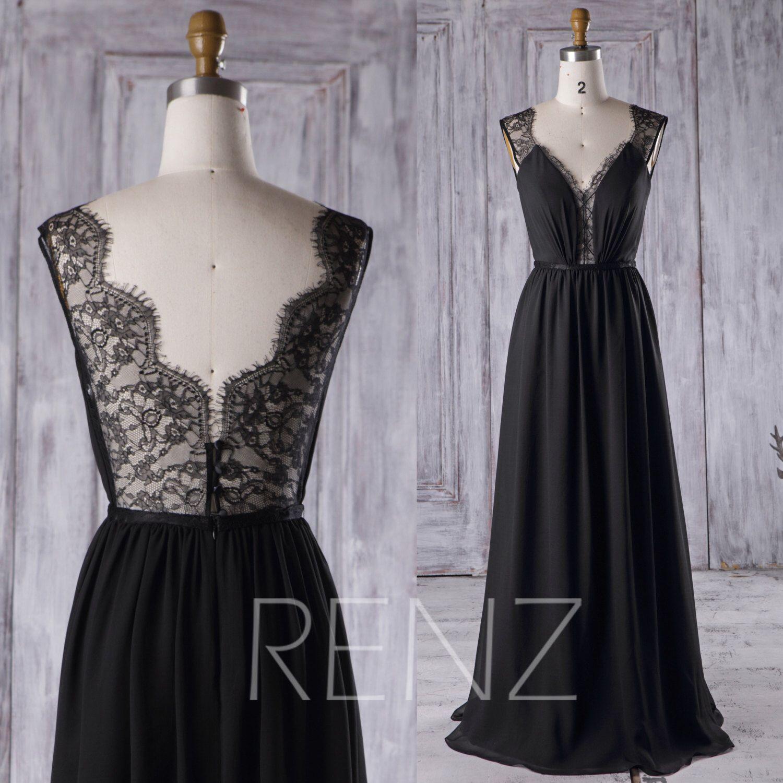 black chiffon bridesmaid dress long lace wedding dress a line