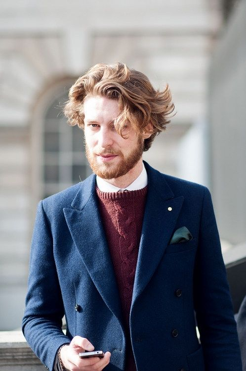 navy burgundy sweater jacket beard | StyleMan | Pinterest ...