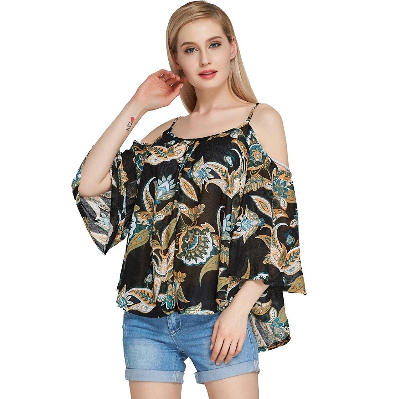 Women Chiffon Off Shoulder Bell Sleeve Halter Neck Shirt