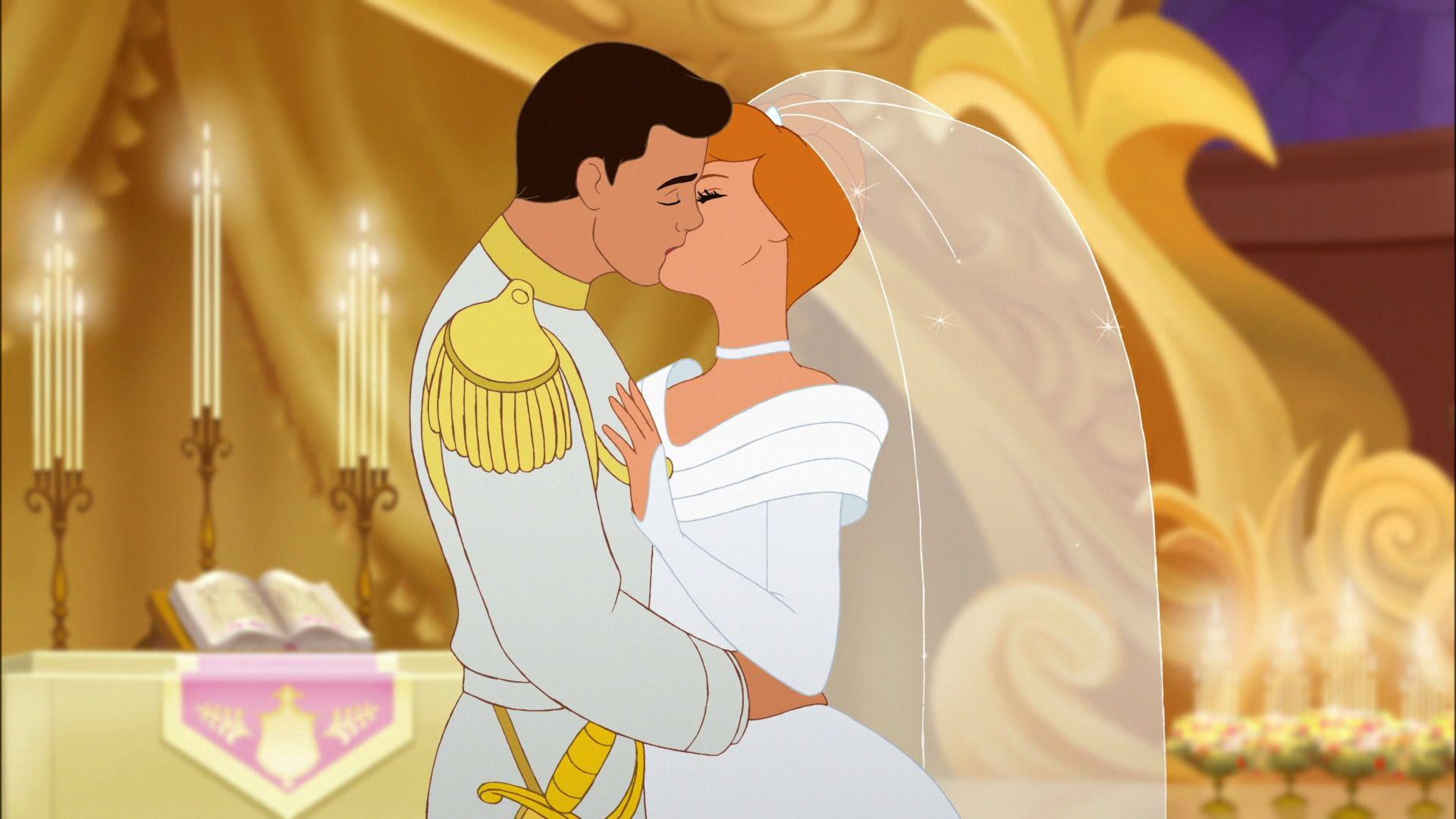 cinderella and prince charmings kiss on their wedding day