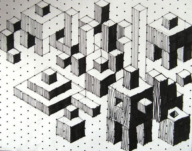 Isometric Cuboids | Isometric Paper, Art Patterns And Op Art