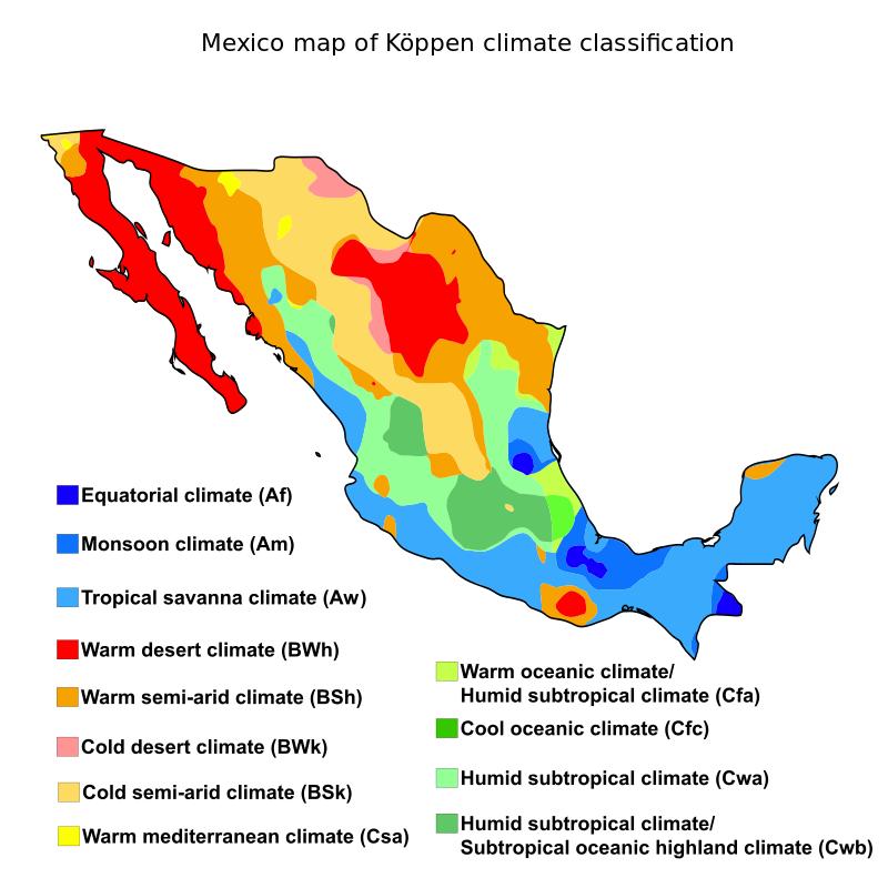 Mexico map of kppen climate classification geography of mexico mexico map of kppen climate classification geography of mexico wikipedia the free encyclopedia gumiabroncs Image collections