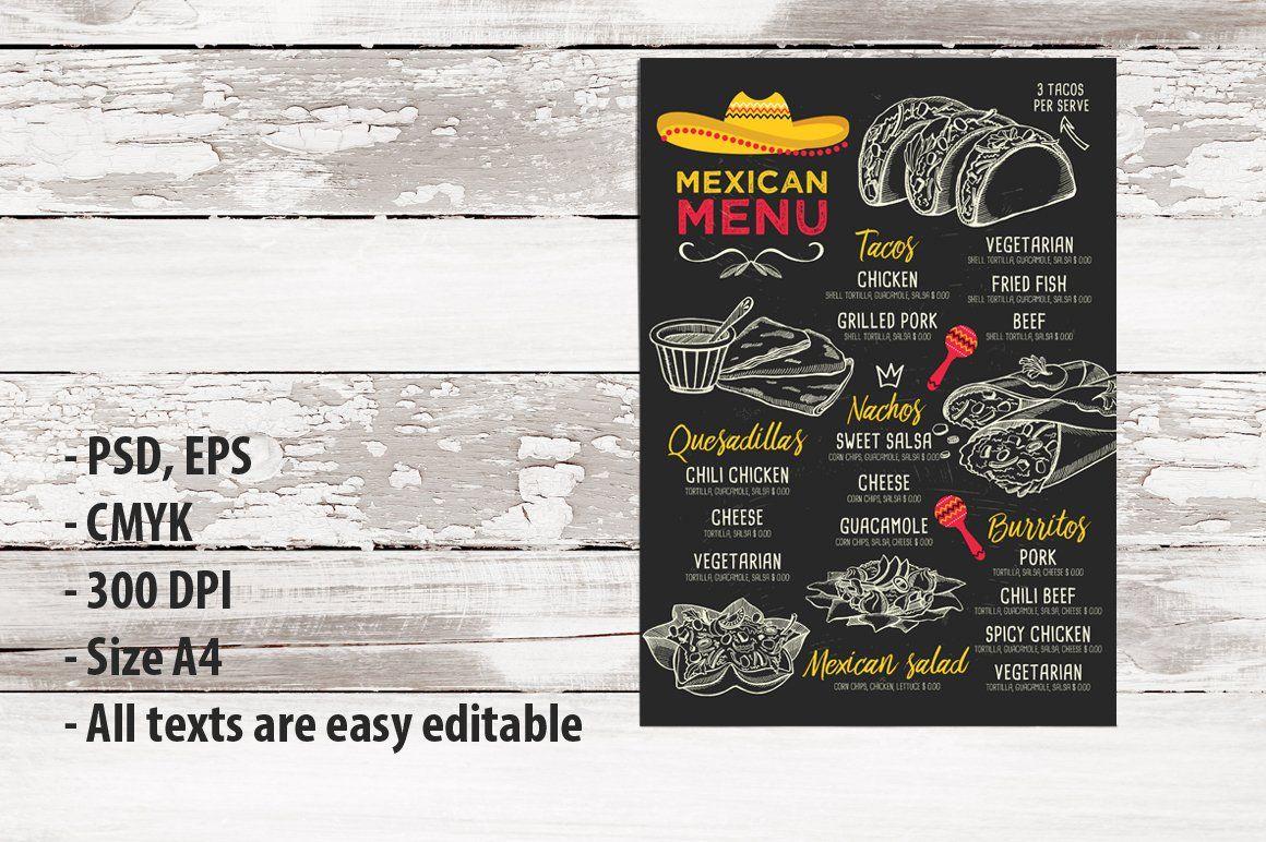 FREE! Trifold Mexican Food Menu , sponsored, EPS