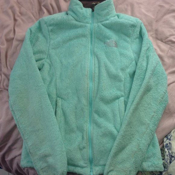 a19a572ca Light turquoise blue fuzzy north face jacket Soft and fuzzy both ...