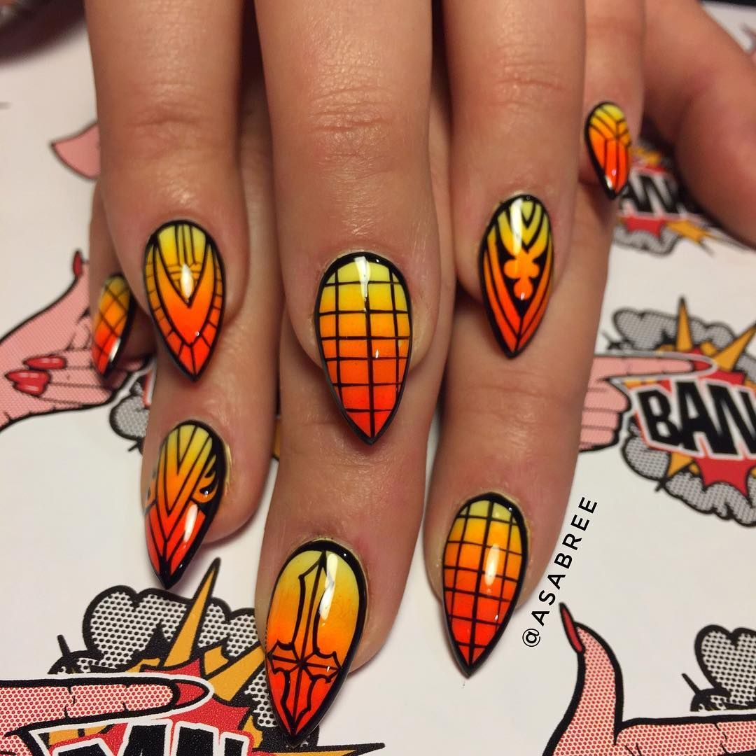 """744 Likes, 7 Comments - FINGER BANG (@fingerbangportland) on Instagram: """"@asabree Orange gothic stained glass on @gatta_strega #fingerbang #fingerbangme #fingerbangportland…"""""""