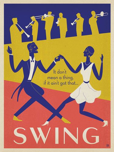 Swing - It don't mean a thing if it ain't got that Swing!This classic design was created in limited colors with an antique Art Deco palette that celebrates the era of F. Scott Fitzgerald and Big Band music. Printed on gallery-grade paper, this cheery print will add a touch of class and a brassy blast to any home or office wall.<br />
