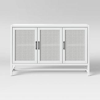 Warwick 2 Door Wood Rattan Accent Cabinet White Threshold Accent Doors Media Cabinet Apartment Storage