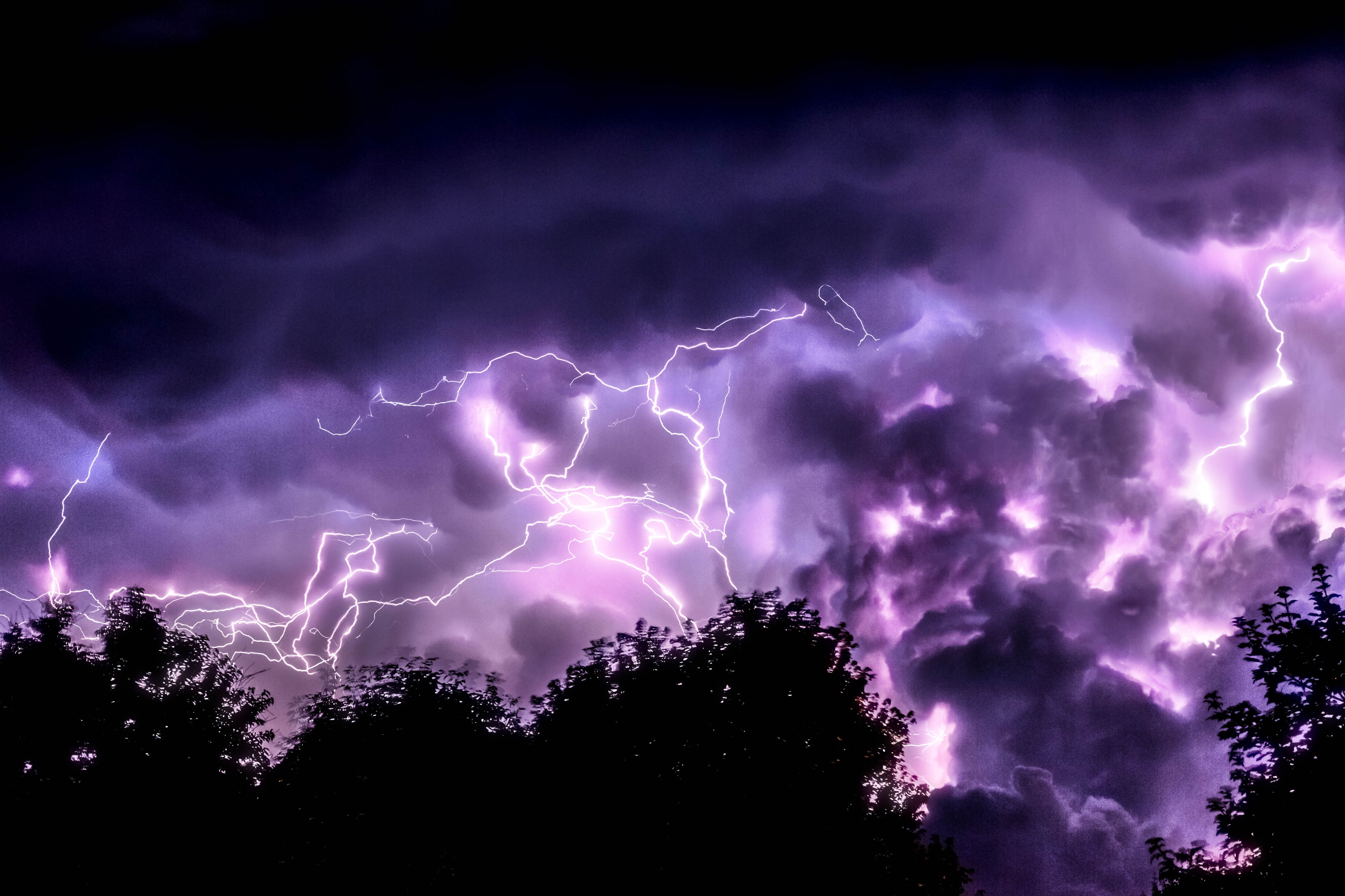 A view of purple lightning and thunder bolt in the sky