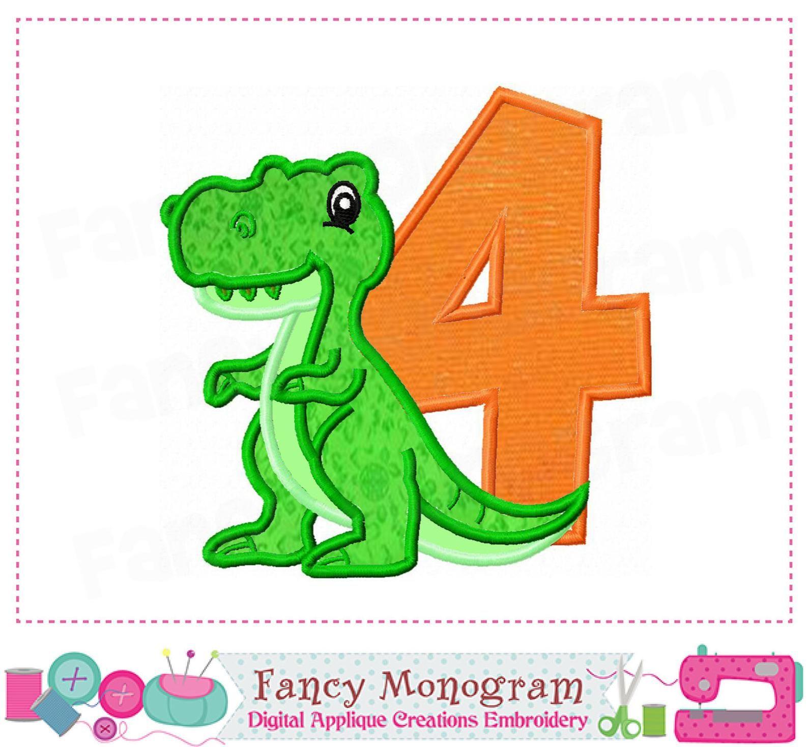 T Rex Number 4 Applique My 4th Birthday Dinosaur Applique