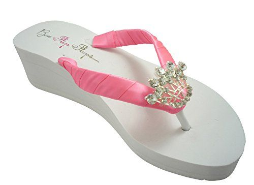 391e88733c7 Princess Wedding Wedge Flip Flops White Ivory Bridal Pink Satin 2 inch Heel  -- See this great product.