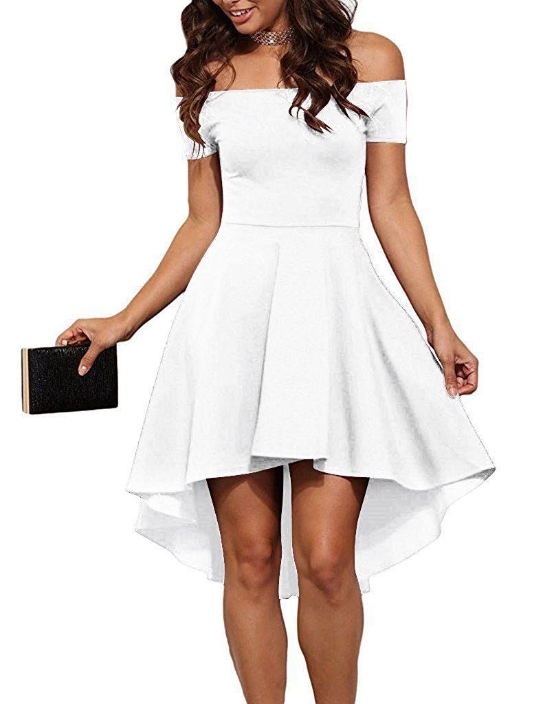 70d8817bf2 Wearlove Women Off Shoulder Short Sleeve High Low Skater Dress (XXL ...