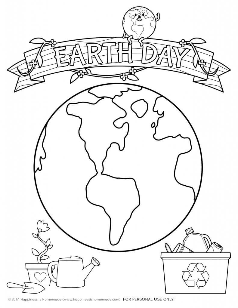 Earth Day Kids Crafts + Coloring Pages Happiness is