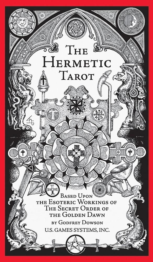 Hermetic Tarot Deck Godfrey Dowson's subtle black and white designs emphasize the Golden Dawn's astrological attributes with further sephirotic, angelic, geomantic, numerical, and kabbalistic elements. All 78 cards feature an exquisite level of detail that highlights the powerful symbolism. The 70-page instruction booklet includes an introduction by Stuart R. Kaplan and card meaning written by Godfrey Dowson and Stuart R. Kaplan. The booklet also gives instructions for the classic ten-card Celti