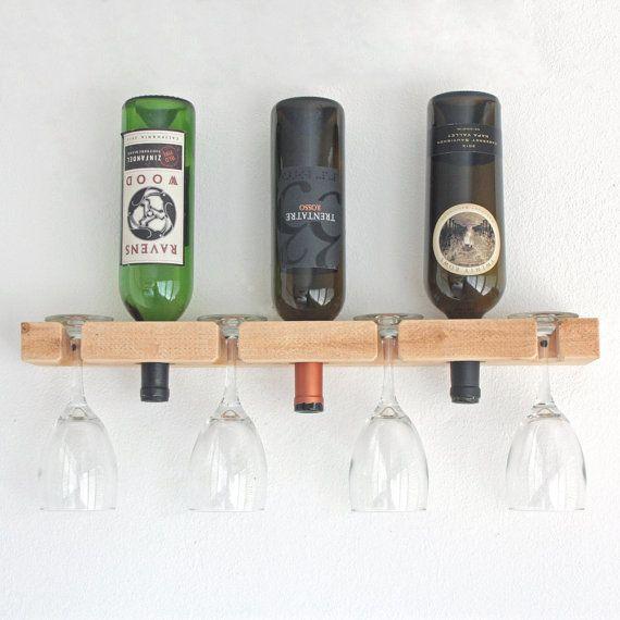Vino rack de pared botellero madera tiene 3 botellas y 4 - Botellero de pared ...