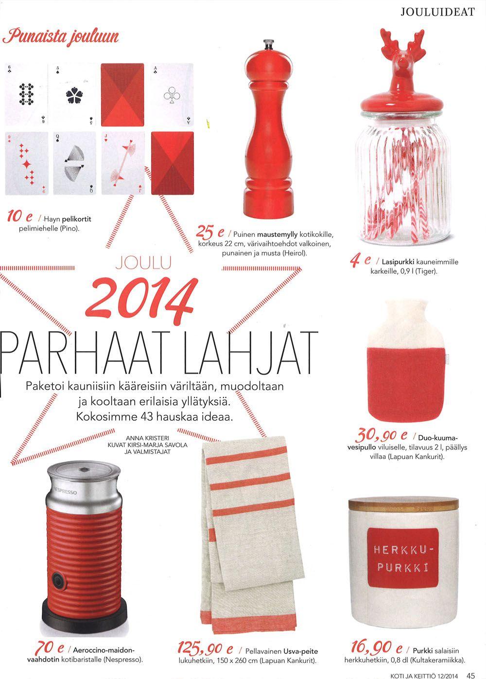Kaunis punainen maustemylly on ihana lahja josta on iloa pitkään!  Lehti: Koti ja keittiö 12/2014