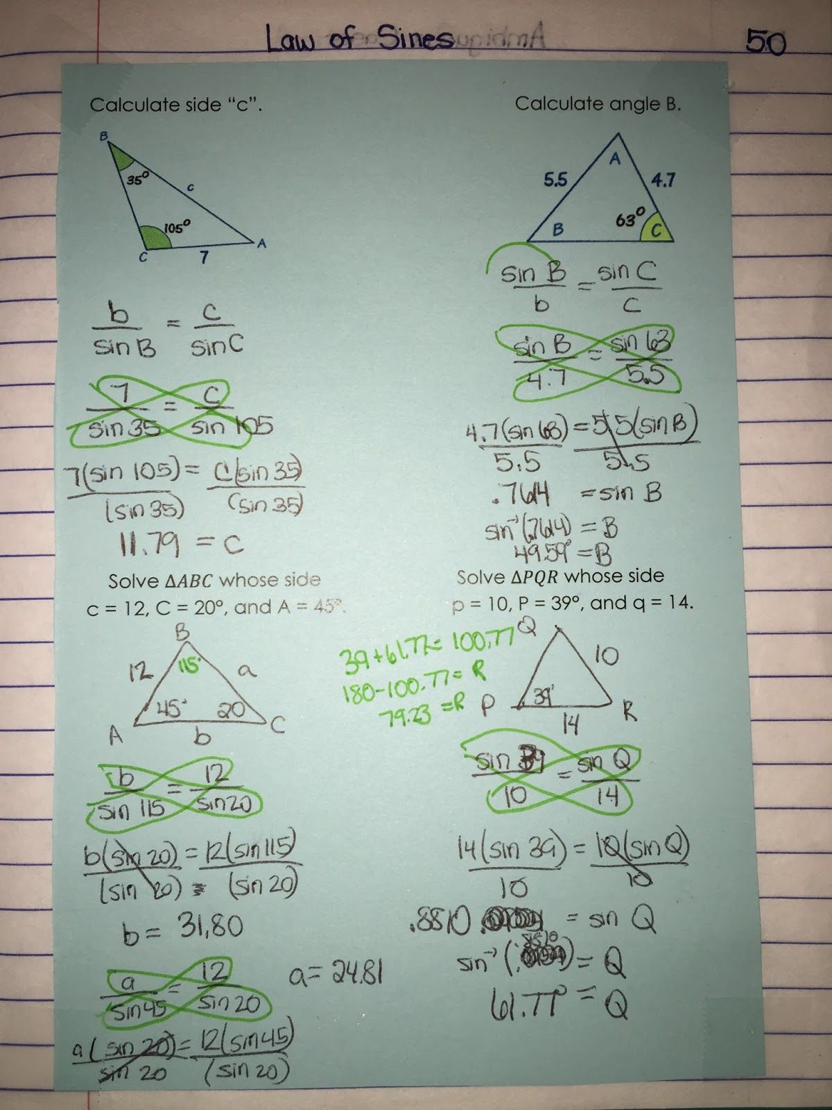 Unit 5 Law Of Sines And Cosines Pg 49 50 Started This Unit With The Investigations By Illumination That Develop Law Of Sines Interactive Notebooks The Unit