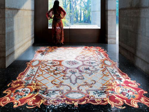 Believe it: a mosaic tile carpet from Sicis! What a great concept with gorgeous detail for a room.
