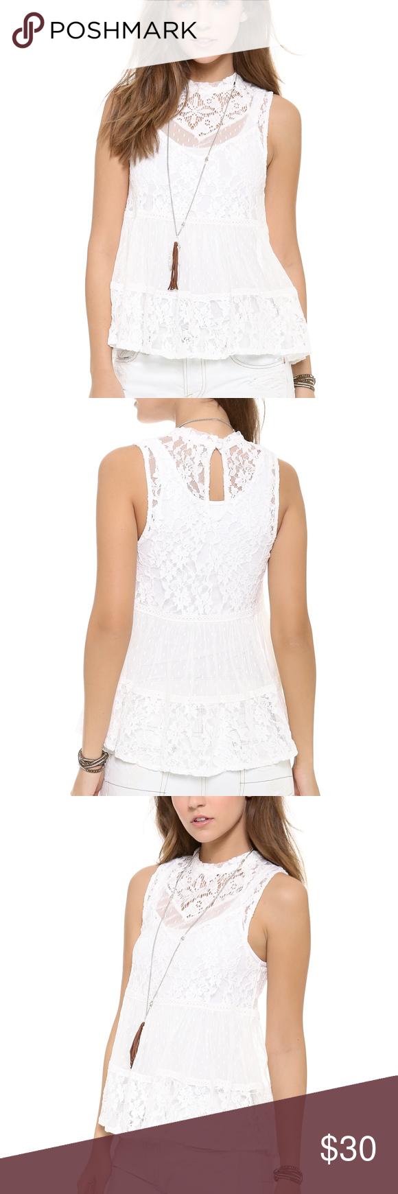 8864f56276fa0f Free People Lady Bird Lace Tank, Ivory Delicate, mixed-pattern lace high-