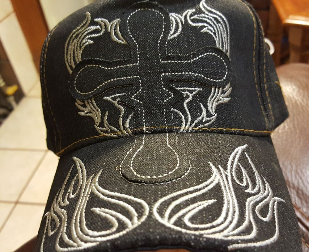 1ef49ca57 BLUE DENIM Hat Cap with SILVER STITCH CROSS on Front * Adjustable ...