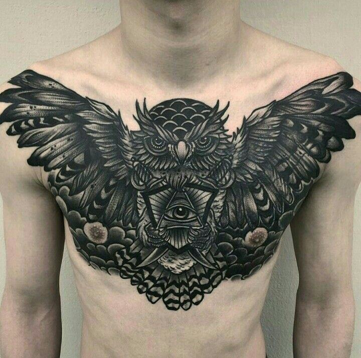 owl chest piece by micotattoo tattoo pinterest. Black Bedroom Furniture Sets. Home Design Ideas