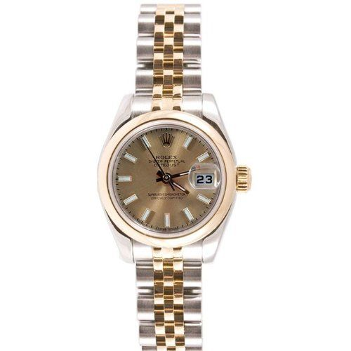Rolex Ladys New Style Heavy Band Stainless Steel & 18K Gold Datejust Model 179163 Jubilee Band Smooth Bezel Champagne Stick Dial Rolex. $6995.00