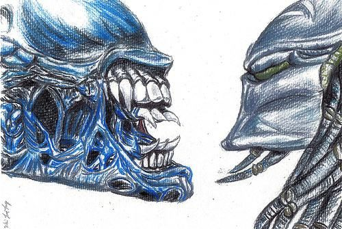 Easy drawings of predator vs alien predator here is a wonderful