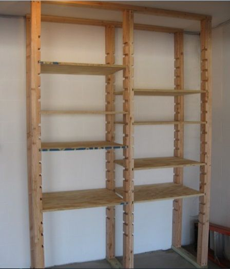 Adjustable Diy Garage Shelves Plans With Plywood Home Interiors Garage Shelf Diy Garage Diy Garage Shelves