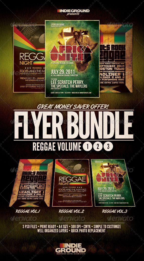 Reggae Flyer Poster Bundle Vol 1-3 Reggae, Template and Print - music brochure