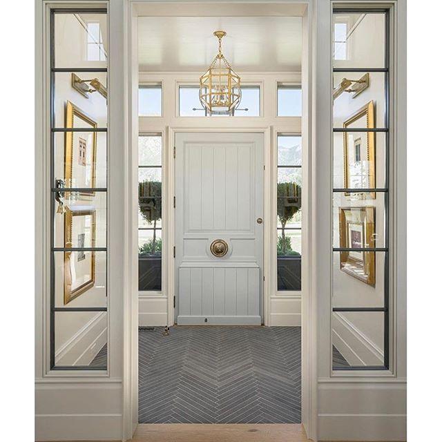 Gorgeous entryway with blue door + chevron floor @establish.design ...