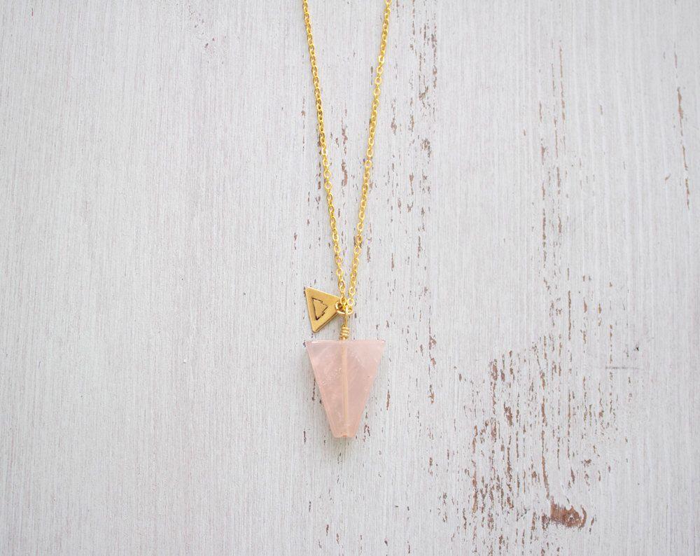 Rose Quartz Triangle Necklace - Rose Quartz Necklace - Long Rose Crystal Quartz Necklace - Pink Crystal Quartz Necklace - Love Quartz B1 by MoonTideJewellery on Etsy https://www.etsy.com/listing/189886262/rose-quartz-triangle-necklace-rose