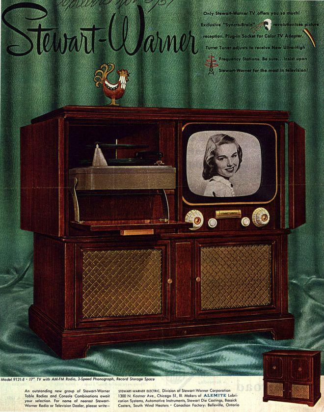 Stewart-Warner TV Radio Console advert