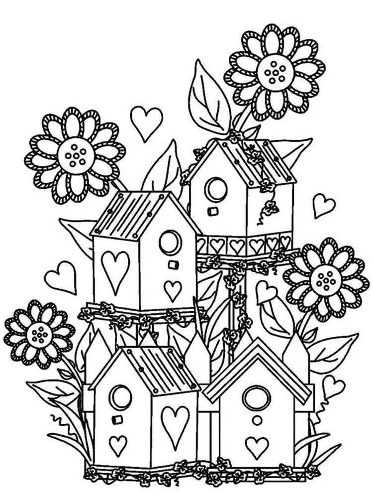 Flower Garden Coloring Pages Picture When Winter Is Over All The Scenes Are Brighter Flowers Are B In 2020 Bird Coloring Pages Coloring Pages Pattern Coloring Pages