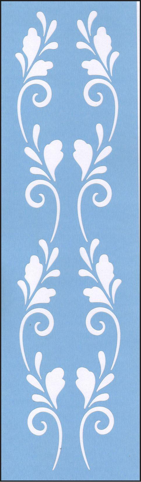 Scandinavian Double Scroll Blue Laser Border Stencil 817