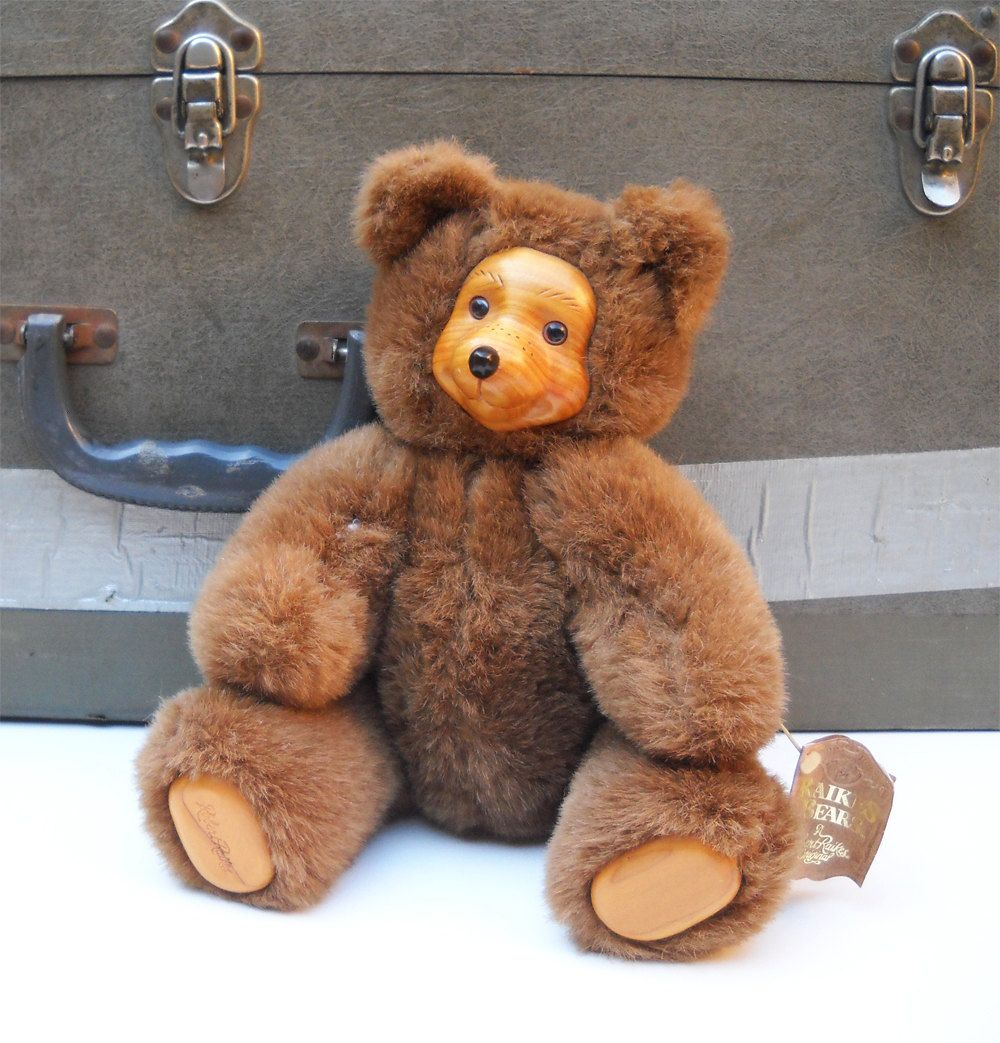 vintage teddy by raikes bears with wooden vintage