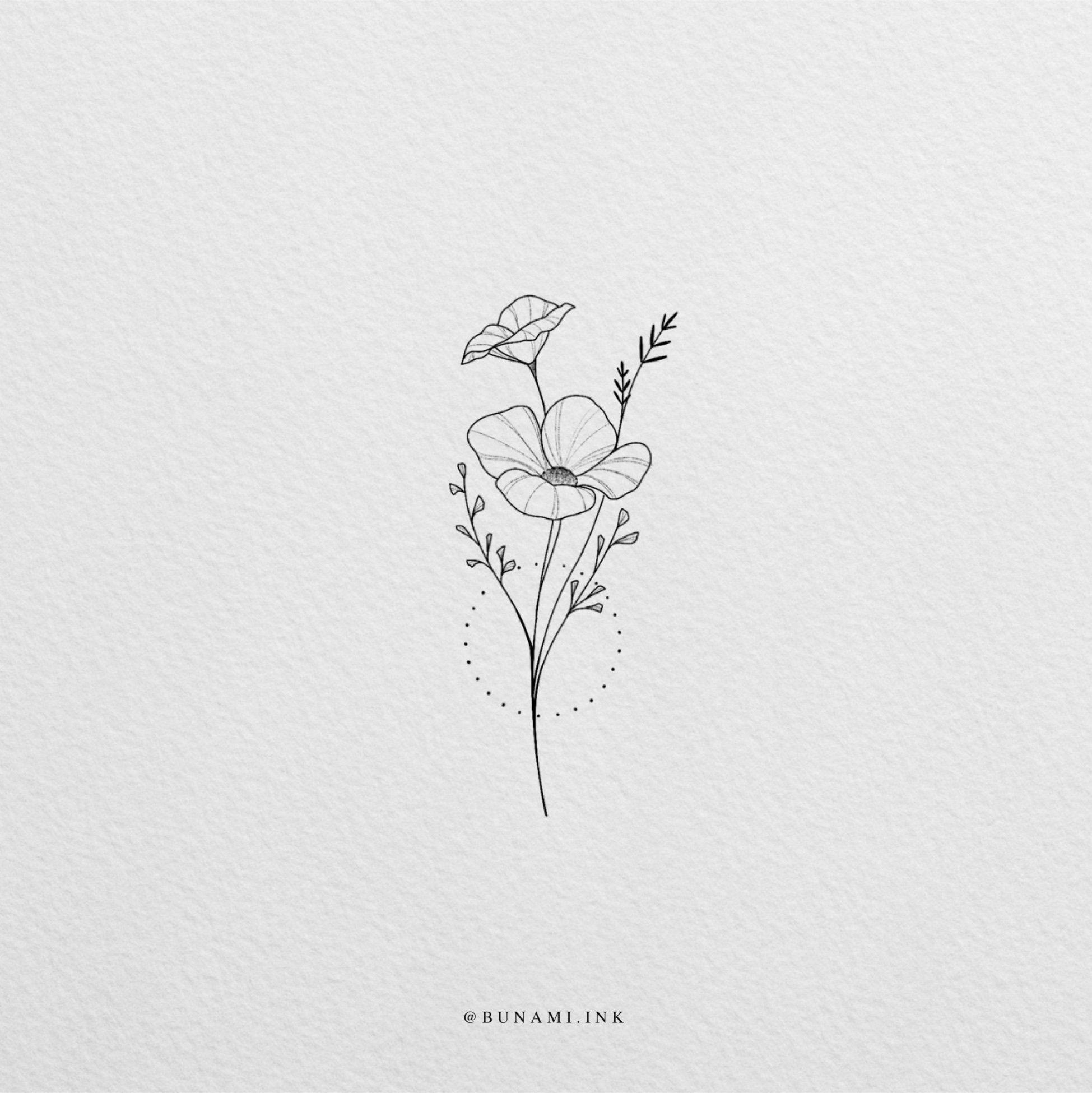 Wildflower poppies (sold) - BUNAMI INK