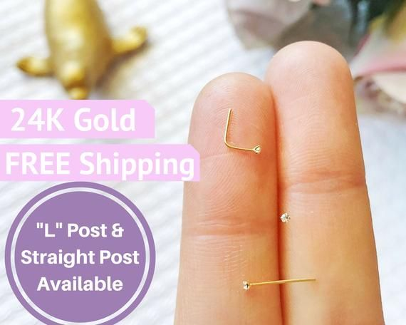 1mm Nose Stud 24k gold nose stud tiny diamond nose stud nose ring nose stud nose ring 1mm nose stud diamond micro small nose stud gold tiny #doublenosepiercing