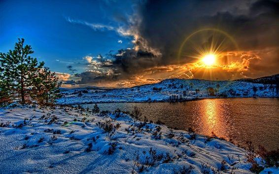Hiver Neige Lac Nuages Coucher Soleil Soleil Hdr Style Fond D Ecran Apercu Paysage Coucher De Soleil Coucher De Soleil Paysage Hiver
