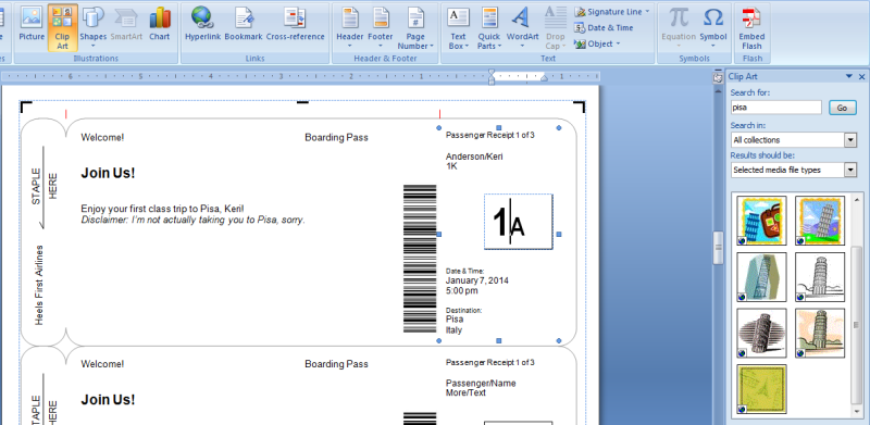 Boarding Pass Template  Young Women    Boarding Pass