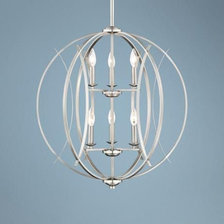Possini Euro Spherical 24 W Brushed Nickel 6 Light Pendant T6704 Lamps Plus Orb Pendant Light Pendant Light Pendant Light Styles Brushed nickel globe chandelier