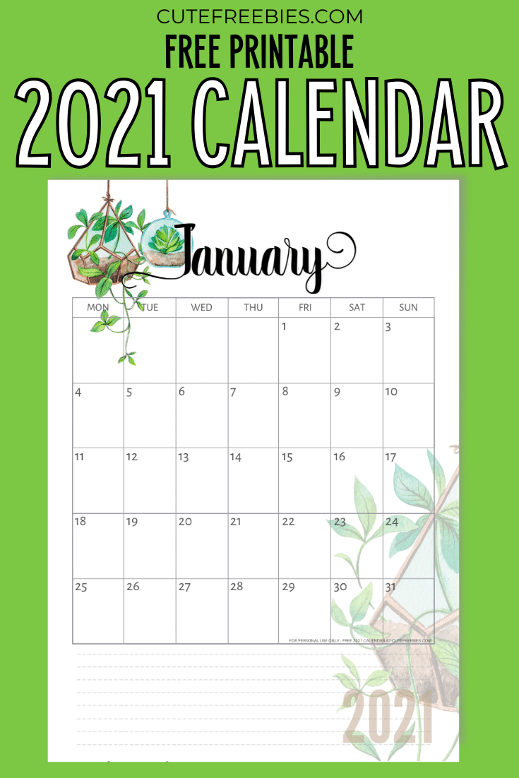 2020 2021 Calendar Free Printable Plants Theme Cute Freebies For You In 2020 Planner Printables Free Free Printable Monthly Planner Free Printables