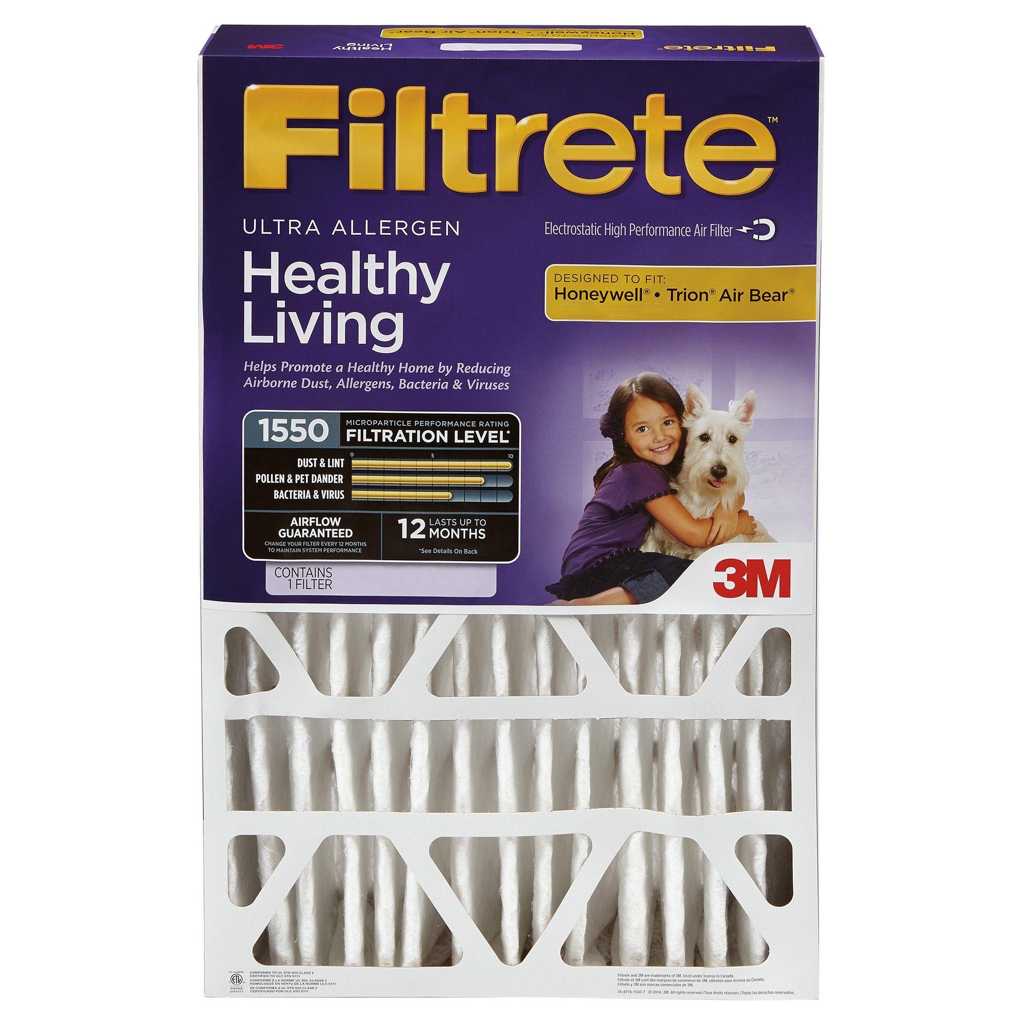 Filtrete Ultra Allergen 20x20x4, Air Filter, White Air
