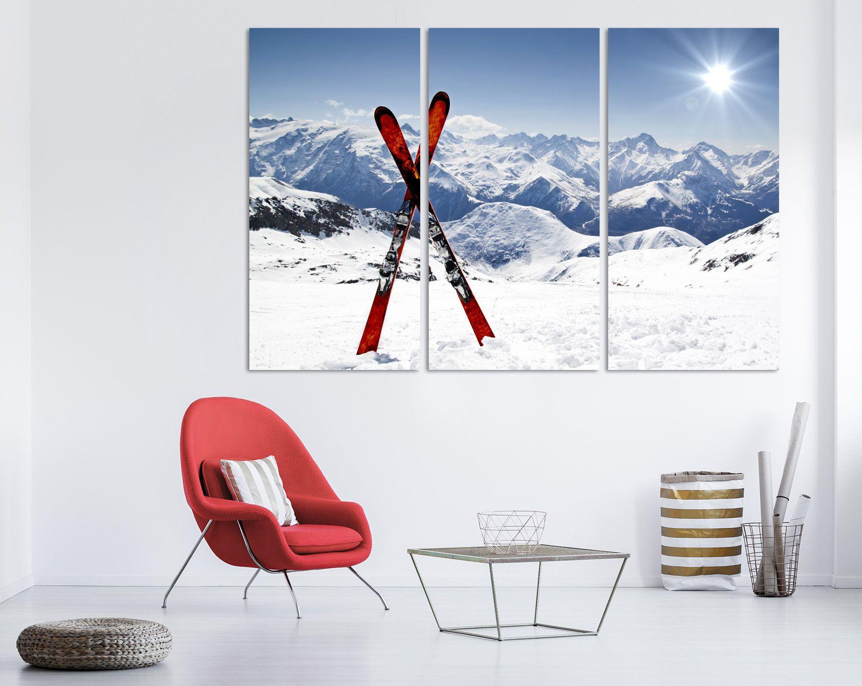 Skis In Snow Wall Art Ski Winter Sport Ski Canvas Print Skiing Etsy Winter Wall Art Large Canvas Wall Art Extra Large Wall Art
