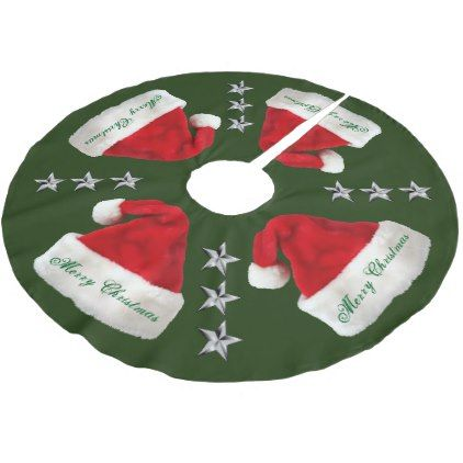 Santa Claus Hats and Silver Stars Tree Skirt - Xmas ChristmasEve Christmas Eve Christmas merry xmas family kids gifts holidays Santa