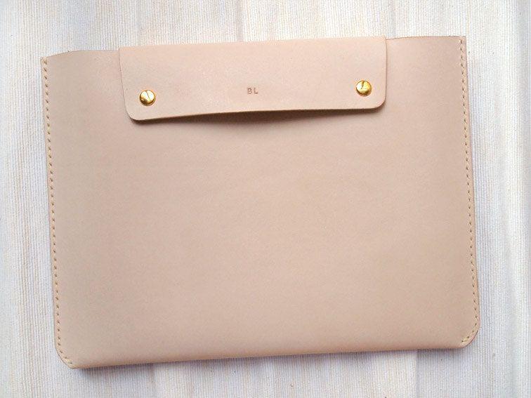 personalized ipad mini case - back pocket - leather